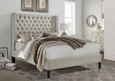 Beautiful Upholstered Platform-Beige or Gray