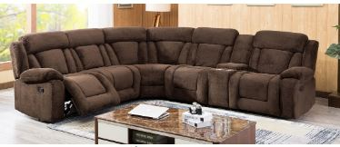 Huge Sectional w/ 3 Recliners and Storage Console.