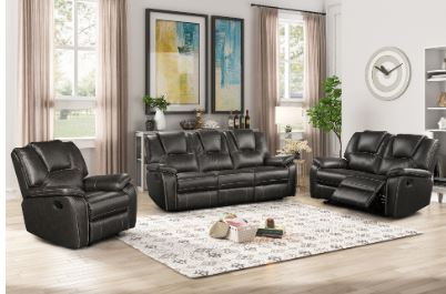 Smoke Gray Air Leather 3pc Reclining Set