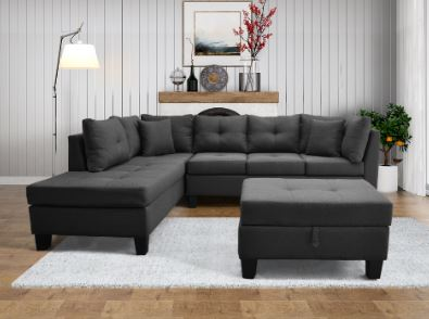 Sleek Sectional with Storage Ottoman